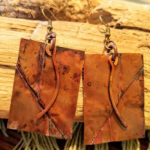 Fire Flamed Copper Rectangle folded earrings
