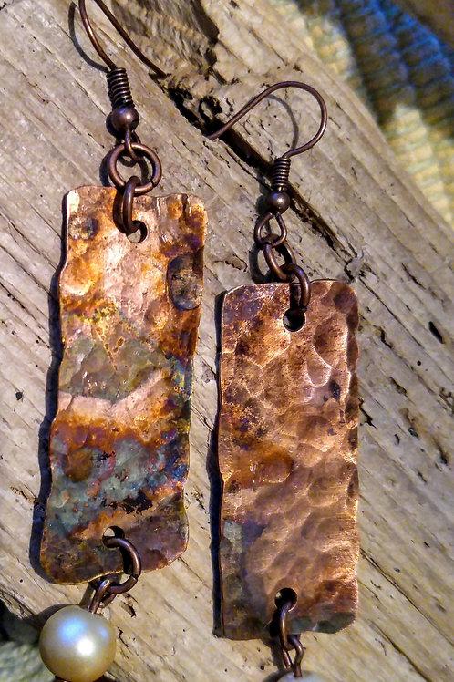 Fire Flamed Copper bar earrings