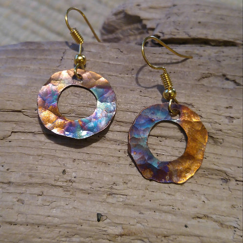 Flamed Copper Washer earrings