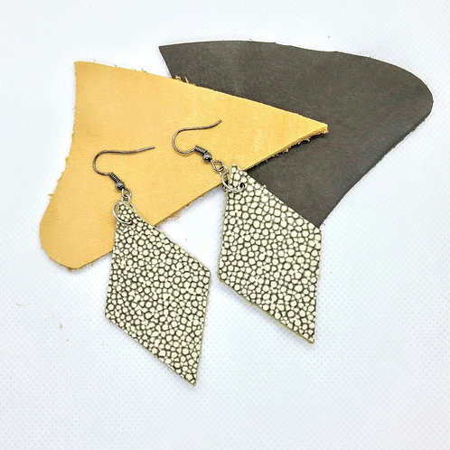 Cowhide Diamond shape earrings
