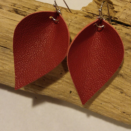 Red Leather Tulip earrings