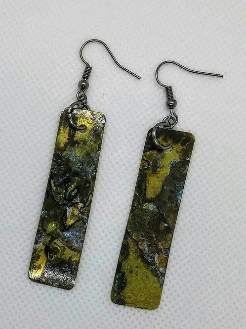 Brass patina rectangle earrings -Long