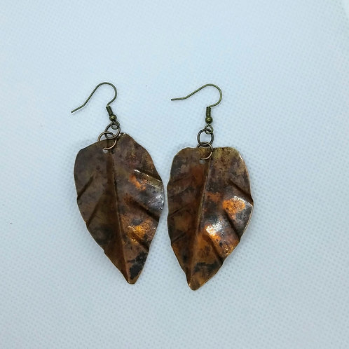 Medium Flamed Copper leaf earrings