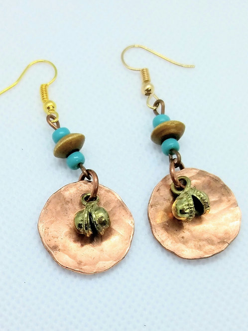 Hammerd Copper Circle Dangle Earrings