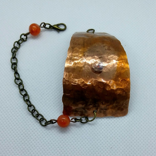 Hammered/Flame Painted Copper Bracelet