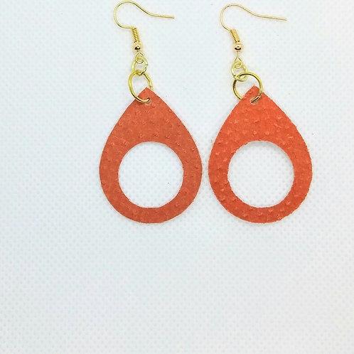 Burnt Orange Leather Teardrop Earrings