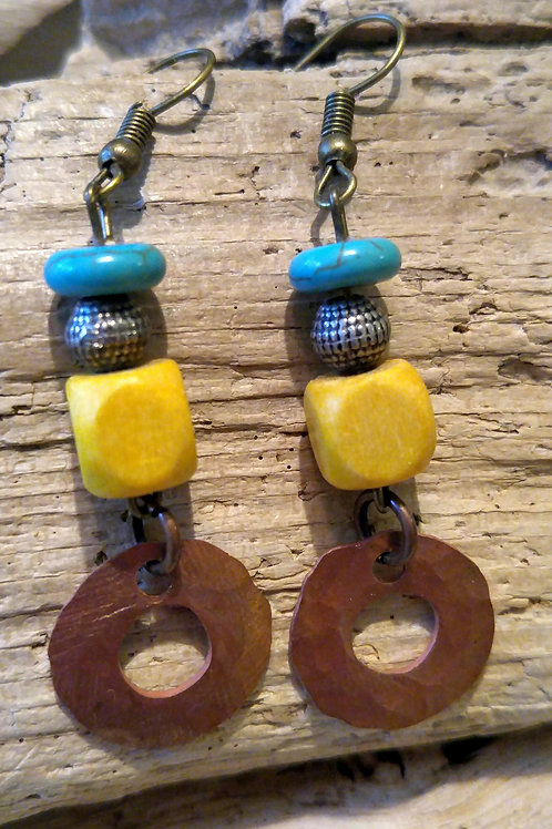 Hammered Copper Washer earrings