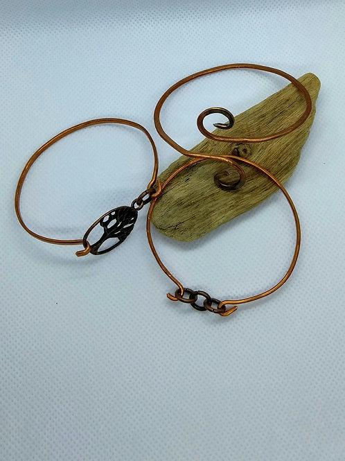 Trio of Copper bangle bracelets
