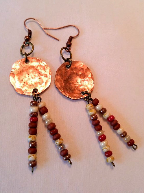 Hammered Penny with Dangle seed beads