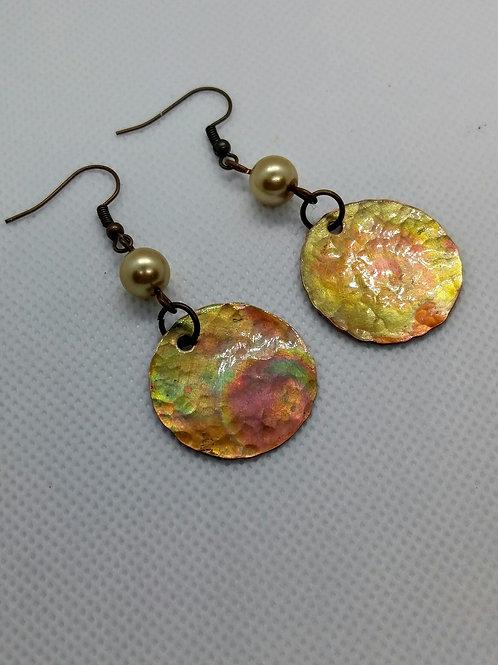 Pastel flamed Copper disc earrings