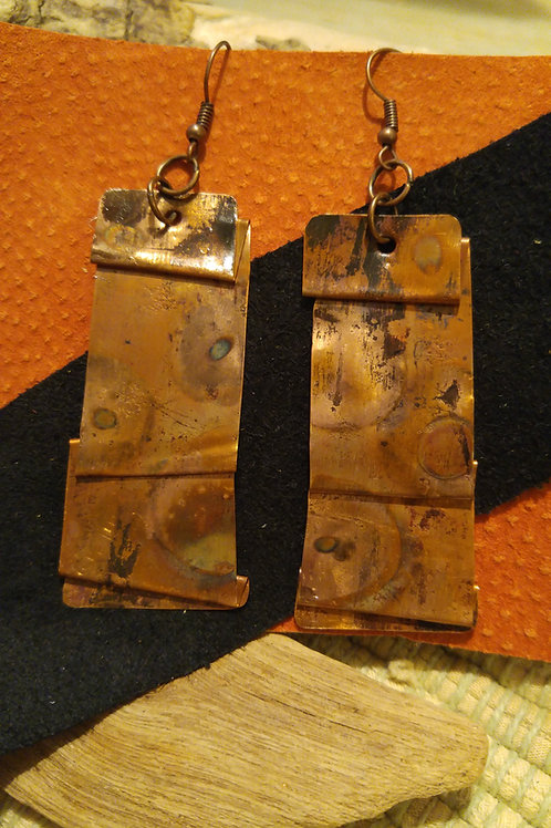 Folded and Flamed Copper earrings