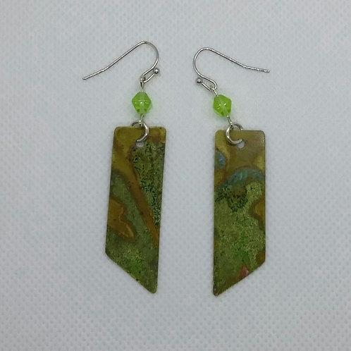 Brass rectangle slanted earrings