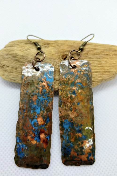 Patina Copper rectangle earrings