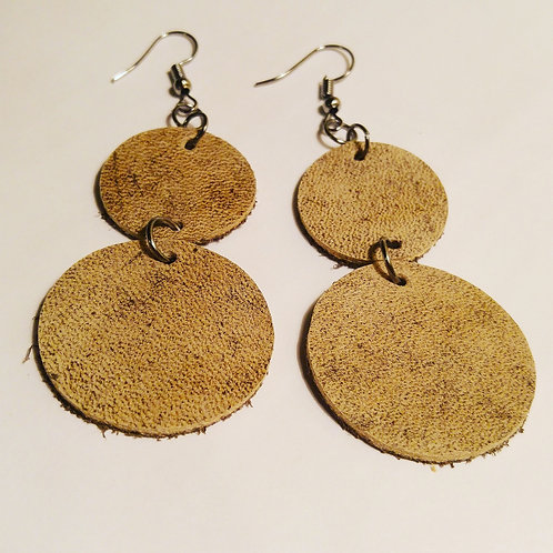 Double circle tan leather earrings