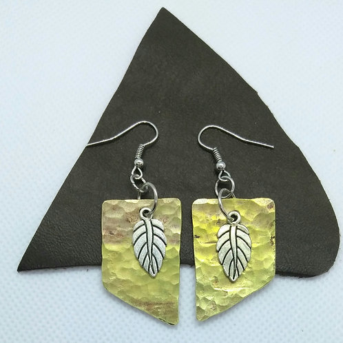 Embellished Brass earrings with an angle