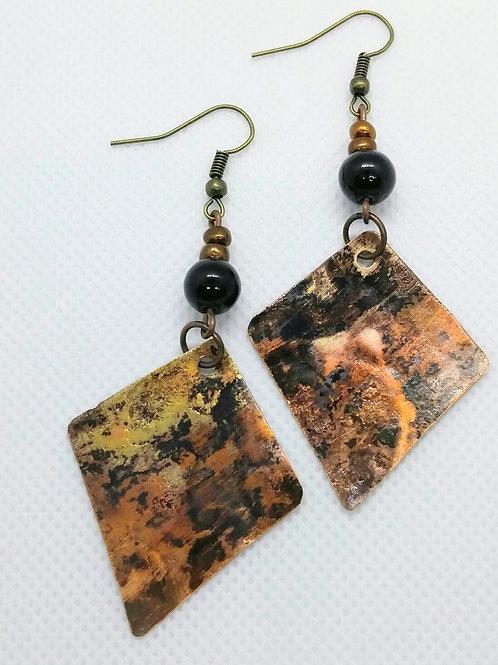 Copper Whimsical Diamond Shape Earrings
