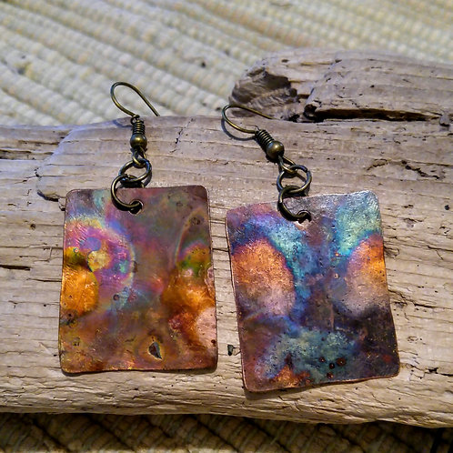 Lightweight Flamed Copper Square earrings
