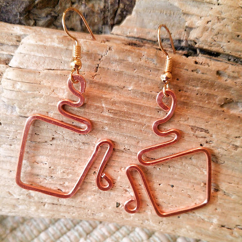 Hammered Copper Coffee Cup earrings