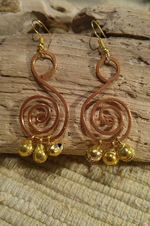 Coiled Copper Wire earrings