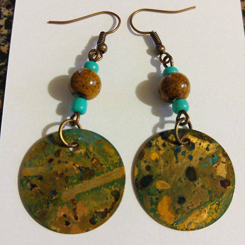 Earthy patina copper disc earrings
