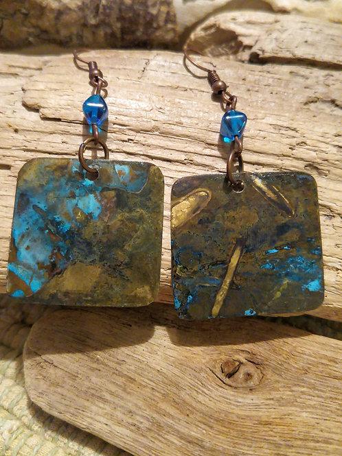 Ocean Blue Patina Brass Earrings