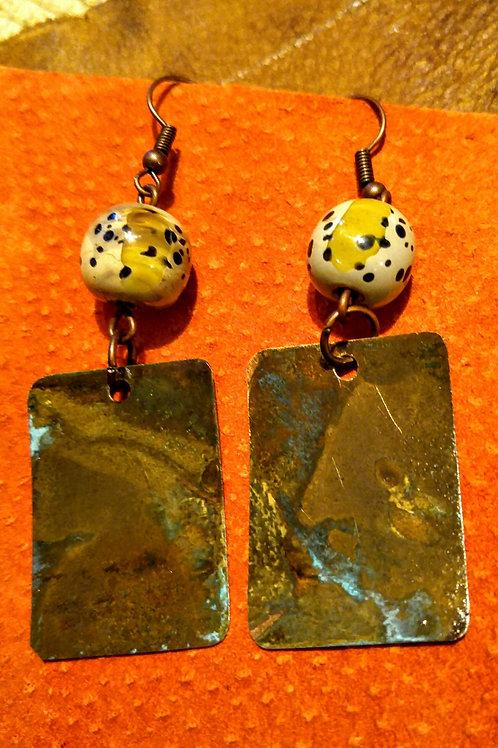 Mossy Green Brass Patina earrings