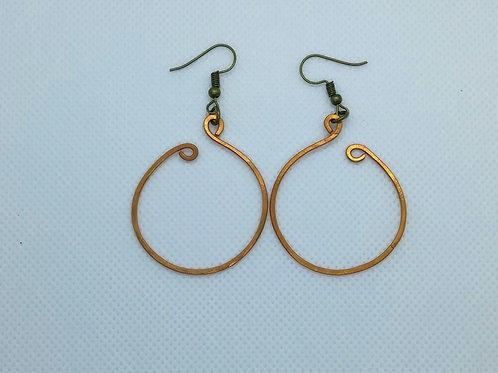 Medium size Copper Hoop earrings