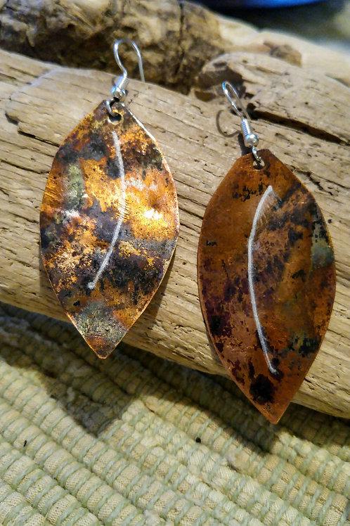 Flamed Copper leaf earrings