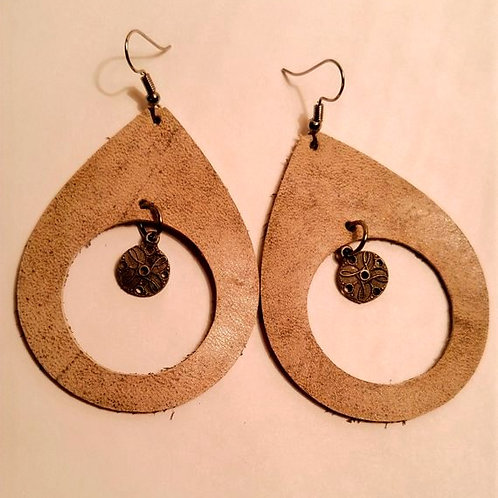 Large Leather teardrop earring with charm dangle
