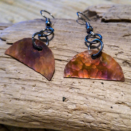 Small  half moon flamed and hammered earrings