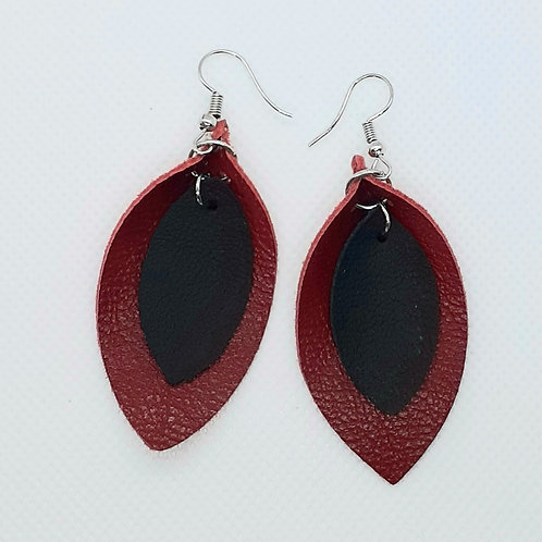 Red and Black Layered leather Petals