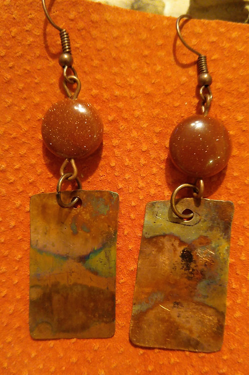 Hammerd flamed rectangle earrings