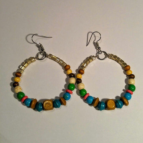 Wooden Beaded Hoop Earrings