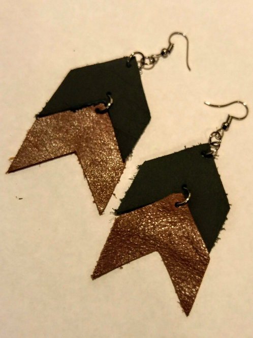 Multi-colored  leather Chevron Earrings