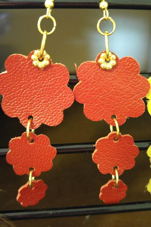 Three Tier Leather Flower earrings