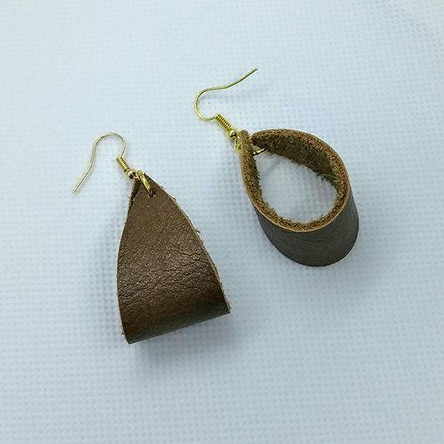 Brown Leather Hoop earrings