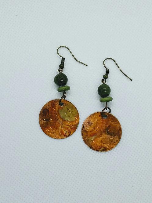 Copper flamed disc earrings