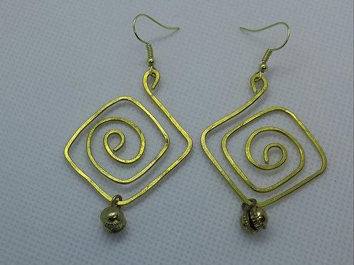 Brass swirl earrings with brass bells