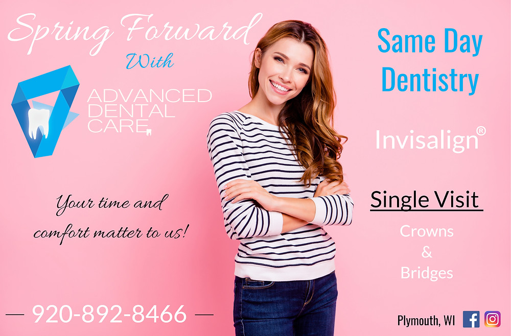 "Spring Forward with Advanced Dental Care Clinic, young girl  standing with a wide smile in front of a pink background with armes crossed, wearing a pair of jeans and a stripes shirt.  the aare some lines like ""same day dentistry, invisalign and crowns and bridges on the right side and advanced dental care (and logo) with ""your time and comfort matters to us"" on the left side.phone number is 9208928466 and location is plymouth wisconsin."