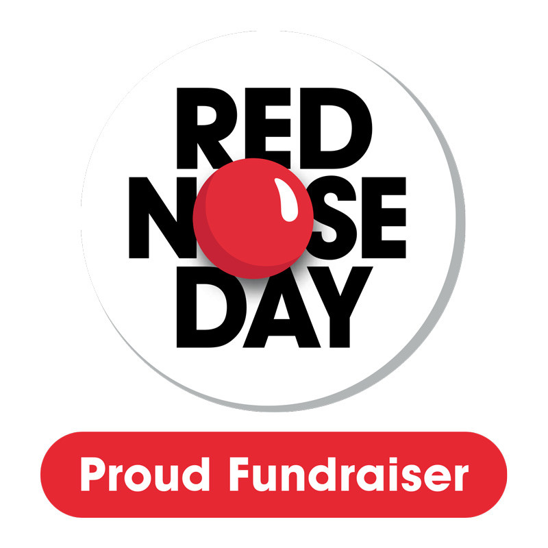 Red Nose Day, Proud Fundraiser, red circle resembling a red nose in a circular white back ground.