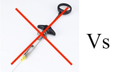 """dental syringe with red X through it with """"Vs"""" next to it"""