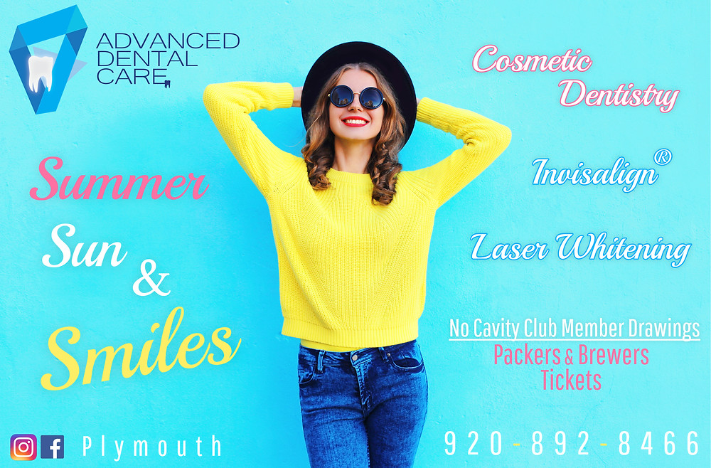 Girl in yellow sweater, sun glasses ad a summer hat smiling, leaning against a wall with  advanced dental care logo and Invisalign and cosmetic dentistry ads. Phone number 920-892-8466 plymouth is at the bottom of the picture