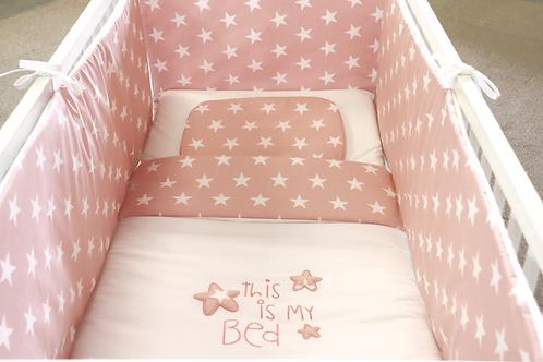 Achtdelige bedset Star roze