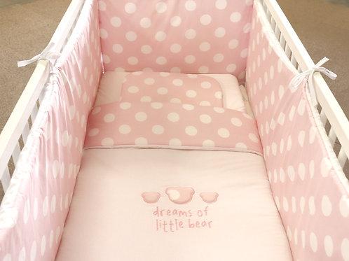 Achtdelige bedset Dreams of little bear roze