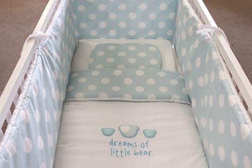 Achtdelige bedset Dreams of little bear blauw