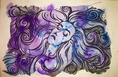 Watercolor and sharpie