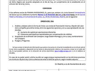 Convocatoria Junta Extraordinaria de socios de Pinama Inversiones, S.L.