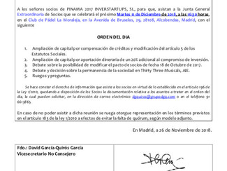 JUNTA GENERAL EXTRAORDINARIA DE PINAMA 2017 INVERSTARTUP, S.L.