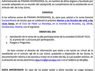 JUNTA GENERAL EXTRAORDINARIA DE PINAMA INVERSIONES, S.L.
