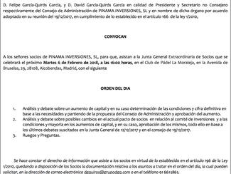 Convocatoria Junta General Extraordinaria